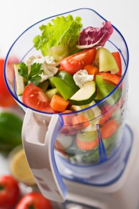 Vegetables in blender for healthier diet