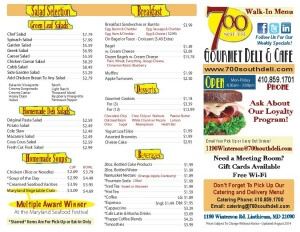 700 South Walk in Deli Menu